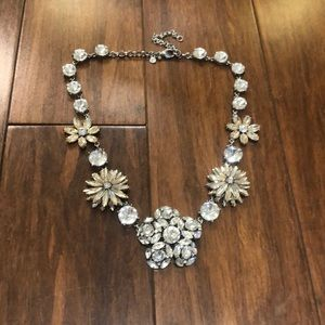 Ann Taylor flower and crystal statement necklace
